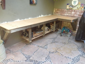 Initial framing of a custom patio countertop.